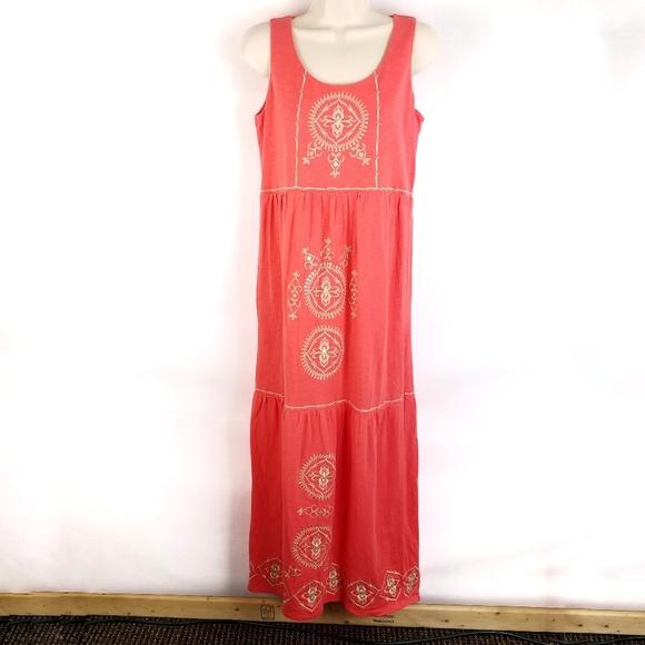 J. Jill Dresses & Skirts - J Jill Maxi Dress SZ XS Orange Embroidered